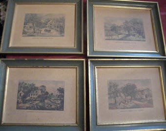 Currier and Ives Prints in Green and Gold Frames