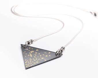 Triangular fine silver and 24k gold necklace