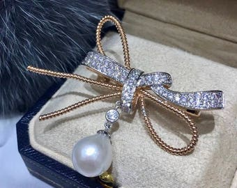 12-13mm Natural White Baroque Pearl with Rose Gold Plated Butterfly Bow Brooch, Natural Genuine White Edison Pearl Butterfly Brooch