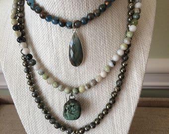 Semi-precious beaded necklace