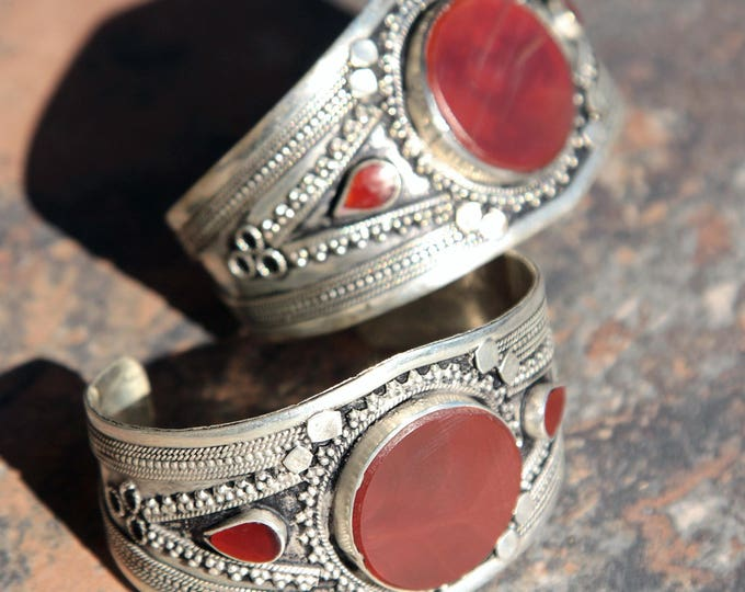 BRACELET Pair (2pcs) Turkoman Tribal Real CARNELIAN Belly Dance 502a88