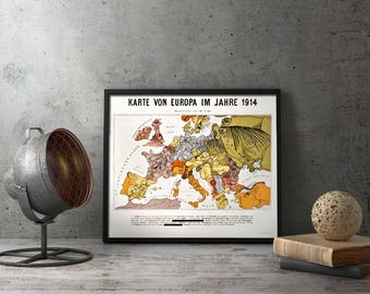 WW1 German Map Of The World Caricature Poster - WWI military wall art decor, germany, europe, european, military, militaria, propaganda, vtg