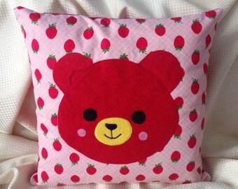 appliqued bear children's  cushion