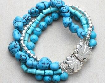 Santa Fe Bracelet, Turquoise bracelet, Sterling Silver Bead Bracelet, Southwestern Bracelet, Turquoise Sterling Silver Bracelet