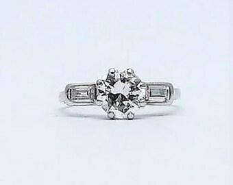 Platinum Art Deco Diamond Solitaire Ring 1.30 Carats.