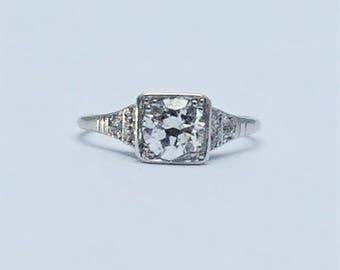 White Gold 1920's Diamond Solitaire Ring