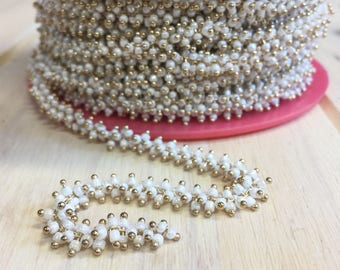 1M Gold Brass 2mm Beaded Chain, 14K Gold Plated