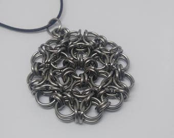 Stainless steel pendant - chainmaille necklace - unique steel jewelry - stainless pendant necklace - free US shipping