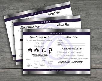 Monat Event Questionnaire, Information form ,Mona business cards,Monat Cards, hair type, style, partner request,Printable