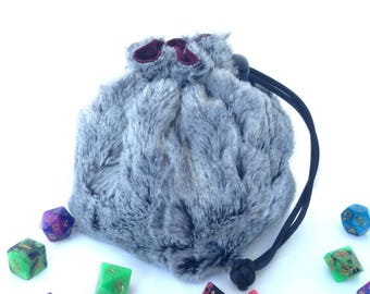 Bag of Holding - Gray Faux Fur Dice Bag