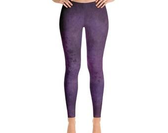 Purple Workout Leggings Printed Yoga Leggings Womens Leggings Yoga Tights Stretch Pants Yoga Pants