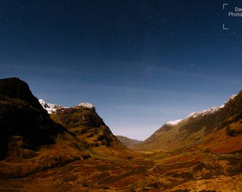 Glencoe lit by Moonlight - Scotland, Landscape, Astrophotography, Night Time, Mountain Photography, Wall Art, Snowcapped, Highlands