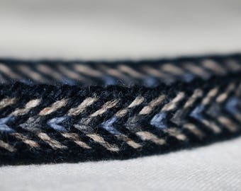 Handmade Blue-Beige-Grey Tablet Woven Viking Trim/Band (100% Pure Wool) 1-4 m Length, Without Tassels