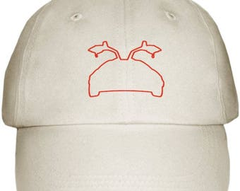 Light Khaki Red DeLorean Outline Cap