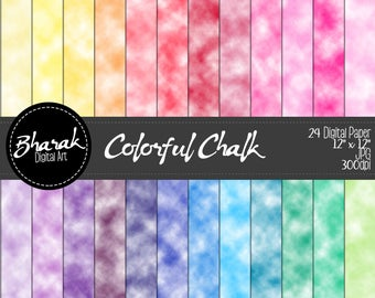 Colorful chalk Digital paper-colored chalk Digital paper-Chalk effect-Scrapbook-invitations-24 papers