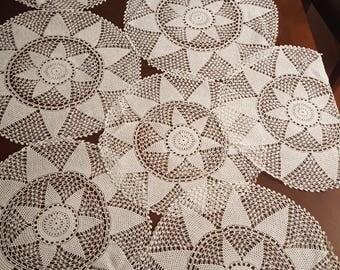 8 piece vintage handmade round placemat