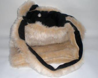 Faux fur shoulder tote bag