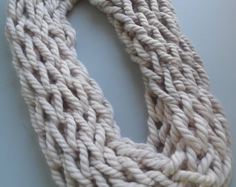 White roped Adult Infinity Scarf