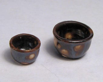 "2 Dollhouse Porcelain stacking bowls handcrafted -1:12 scale-under 3/4"" OOAK brown marbled finish-dollhouse serving bowls-mini mixing bowls"