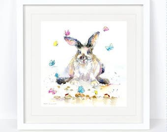 Butterfly Bunny - Rabbit Print. Printed from an Original Sheila Gill Watercolour. Fine Art, Giclee Print, Hand Painted, Home Decor