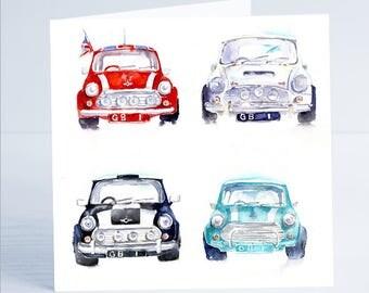 Mini GB  - Greeting Card - Taken from an original watercolour by Sheila Gill
