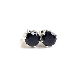 Black Spinel and Sterling Silver Stud Earrings
