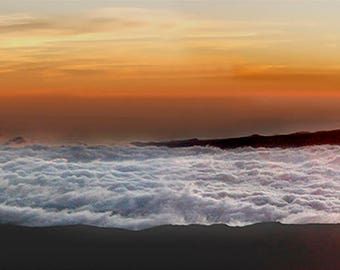 Sunset Mauna Kea ocean like clouds.
