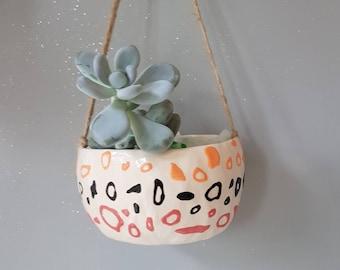Ceramic planter, succulent pot, cactus pot, plant pot, home studio pottery, home decor, pinch pot, black pink and orange design.