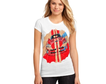 Painted T-shirts - The red car - gift, hand painted,