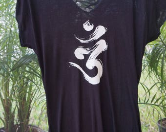 Short Sleeve Snug Black Om T-Shirt