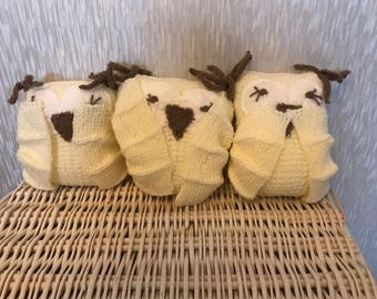 Knitted Three Wise Owls