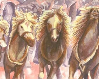 Original Watercolor - Thundering Mongolian Horses, 24x33