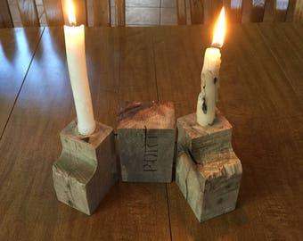 Rustic candle stick holders