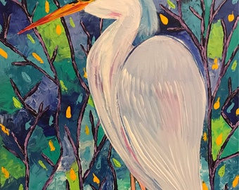 Heron of love ,Original Acrylic painting, Bird, Palette Knife. Whimsical painting.