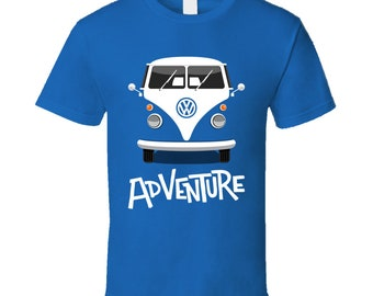Retro Volkswagen Van Adventure Men's T Shirt | Vintage Outdoors Nature Men's Graphic Tee | Peace Hippy Van Day Trip Men Shirt | Graphic Tees