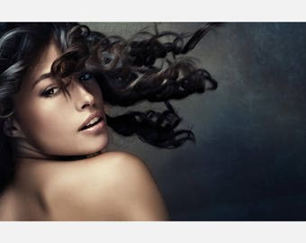Beauty hair Salon Free Style Brunette Poster or Canvas