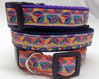 Dog Collar, Colorful Geometric Dog Collar