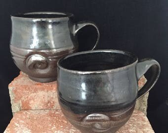 Black Mug, Black Pottery , 030, Black Stoneware , Handmade, Black Coffee Cup