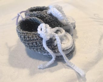 Grey Crocheted Converse Style Baby Booties