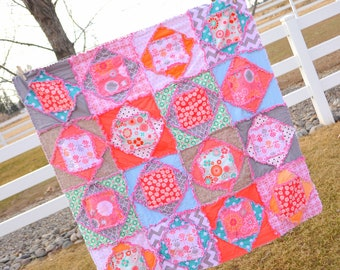 Square Dance Rag Quilt Pattern - Baby Quilt Pattern - Kid Sewing Pattern - Easy Quilt Patterns - Simple Quilt Pattern