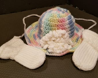 Multi-Color Baby Girl Brimmed Hat with White Flower and White Thumbless Mittens
