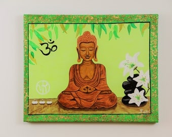 Lime Green Buddha Art