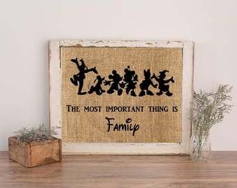 Burlap Print, Burlap Wall Art, Farmhouse Sign, Burlap Sign, Family Sign,