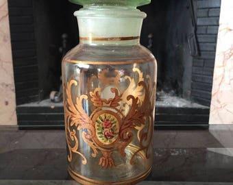 Antique  Glass bottle /Glass bottle hand-panted with 24 k gold/ Antique Italian  bottle/Old Pharmacy Bottle