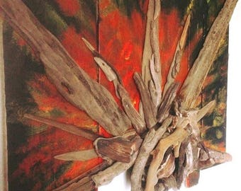 Sunrise Abstract sculpted driftwood wall art