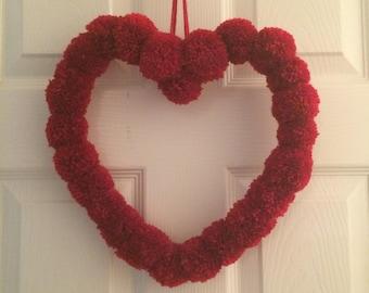 Handmade Pom pom heart wreath hanging decoration