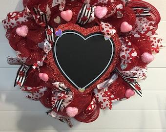 Valentine's Day Deco Mesh wreath with Chalkboard