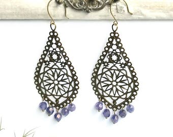 Chandelier Baroque Filigree drop earrings antique brass and Czech beads, lavender  drop earrings, antique