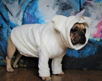 Unicorn white Jumper pyjamas multicoloured hair for small dog, french bulldog, pug, pet costumes clothing for small and medium sized dogs