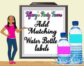 Matching Water Bottle labels-Custom Water Bottle labels- Custom- Digital Only